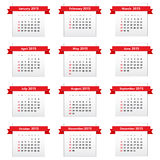 Calendar 2015. With red ribbons Royalty Free Stock Photos