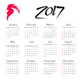 Calendar 2017 with The Red Rooster, symbol of 2017 on the Chinese calendar. Chinese calendar 2017. Vector illustration for your graphic design Stock Photography