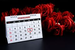 Calendar with red written heart highlight on February 14 of Saint Valentines day royalty free stock photography