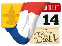 Calendar with Reminder Date for Bastille Day Celebration in France, Vector Illustration Royalty Free Stock Images