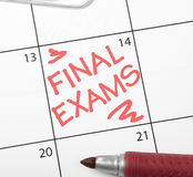 Calendar reminder, final exams Stock Photography