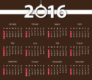 2016 calendar on retro brown background. Week starts with sunday. Vector illustration Royalty Free Stock Photos