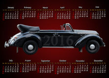 Calendar for 2016 with retro car on the on claret Stock Image