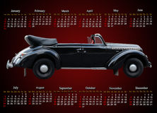 Calendar for 2016 with retro car on claret Stock Photo