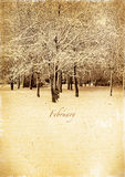 Calendar retro. February. Vintage winter landscape Stock Image