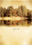 Calendar retro style. September . Vintage autumn landscape Royalty Free Stock Image