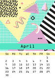 Calendar 2017. Retro vintage 80s or 90s fashion style. Memphis cards.. Calendar 2017. April. Retro vintage 80s or 90s fashion style. Memphis cards. Trendy Royalty Free Stock Image