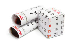 Calendar in Rolls and Box Royalty Free Stock Image