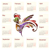 Calendar for 2017 with Rooster. Calendar for 2017. Year of Rooster by Chinese zodiac Stock Photography