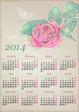 Calendar for 2014 with rose Royalty Free Stock Image