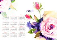 Calendar with Roses flowers. For 2013 Stock Image