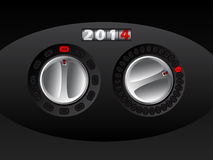 2014 calendar with rotateable car buttons. 2014 calendar design with rotateable car buttons for adjusting month and day Royalty Free Stock Photo