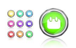 Calendar round colorful shiny icon set Stock Image