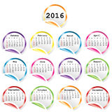 2016 Calendar with round glossy stickers. Over white background vector illustration