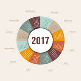 Calendar 2017 round shape. Week Starts Sunday. Modern vector Calendar 2017 year round shape. Week Starts Sunday, eps 10 Stock Image