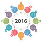 2016 Calendar. Round 2016 calendar, white background Royalty Free Stock Images