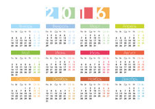 Calendar for 2016 in Russian. Calendar grid for 2016 in Russian Royalty Free Stock Photos