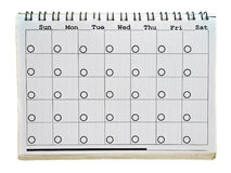 Calendar's page. Calendar page of old spiral notebook isolated on white background Royalty Free Stock Photos
