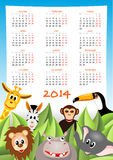 Calendar 2014 with safari animals. Cartoon zebra, elephant, giraffe and lion with calendar 2014 - illustration royalty free illustration