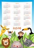 Calendar 2014 with safari animals. Cartoon zebra, elephant, giraffe and lion with calendar 2014 - illustration Stock Image
