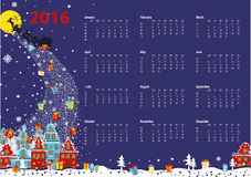 Calendar 2016.Santa coming to the city.Horizontal. Calendar 2016.New year,Christmas.Santa Claus coming to the city and throws gifts.Moon background,winter Stock Images