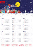 Calendar 2016.Santa coming to the city.Vertical. Calendar 2016.New year,Christmas.Santa Claus coming to the city and throws gifts.Moon background,winter royalty free illustration