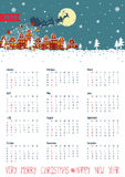 Calendar 2016.Santa coming to the city.Vertical. Calendar 2016.New year,Christmas.Santa Claus coming to the city and throws gifts.Moon background,winter Stock Photography