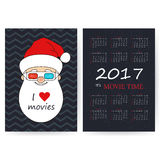 Calendar With Santa In 3D-glasses. Calendar 2017. Smiling Santa Claus wearing 3D-glasses. Christmas vector card. Chevron shabby background. I love movies. It`s Stock Photography