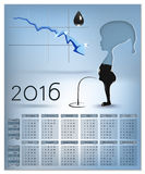 Calendar with schedule of falling prices per barrel of oil 2016 Stock Photos