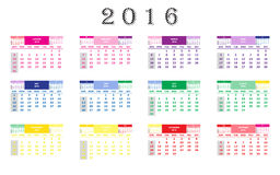 Calendar 2016. Schedule organizer planning Royalty Free Stock Image