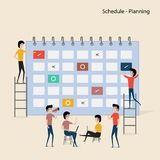 Calendar with schedule plans.People filling out the schedule in. The table.Work planning.Daily routine.Concept for business planning.Events & news.Reminder and Stock Illustration