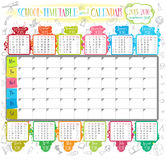 Calendar 2015-2016. Calendar and School timetable for students or pupils on 2015-2016 academic year vector illustration