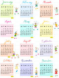 Calendar 2014 with schoolkids. 2014 full calendar design with happy schoolkids, hand drawn illustrations for 12 months Royalty Free Stock Images