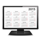 2015 Calendar. On the screen of computer monitor Royalty Free Stock Photo