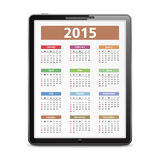 2015 Calendar. On the screen of tablet pc Royalty Free Stock Photography