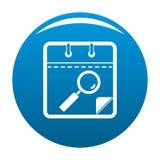 Calendar search icon blue vector stock illustration