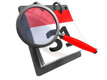 Calendar searching. 3d illustration of calendar with magnify glass, isolated over white Stock Photos