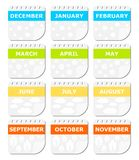 Calendar season,. Calendar of season design. Multicolor stock illustration