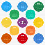 2015 calendar in seasonal colors. For your design. Week starts on Monday Stock Illustration