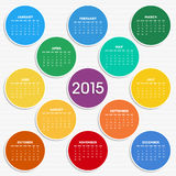 2015 calendar in seasonal colors. For your design. Week starts on Sunday Vector Illustration