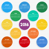 2016 calendar in seasonal colors. For your design. Week starts on Sunday vector illustration