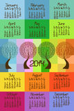 2014 calendar with seasonal trees. Colorful 2014 calendar with seasonal trees Royalty Free Stock Image