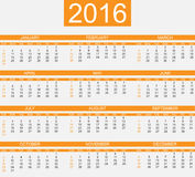 Calendar 2016 second edition. For web Royalty Free Stock Images