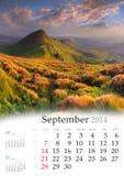 2014 Calendar. September. Beautiful autumn landscape in the mountains Stock Photos