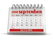 Calendar -  September 2018. Clipping path included Stock Images
