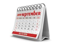 Calendar -  September 2018. Clipping path included Stock Image