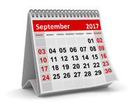 Calendar - September 2017. This is a 3d rendered computer generated image. Isolated on white Royalty Free Stock Photo