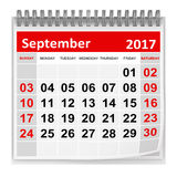 Calendar - September 2017. This is a 3d rendered computer generated image. Isolated on white stock illustration