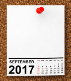 Calendar September 2017. 3d Rendering. Calendar September 2017 on blank note paper with free space for your text.3d Rendering Royalty Free Stock Images