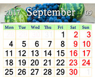 Calendar for September 2017 with fruits Royalty Free Stock Photos